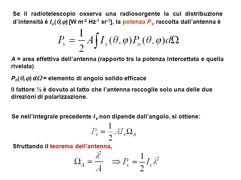 Se il radiotelescopio osserva una radiosorgente la cui distribuzione d'intensità è I(,) [W m-2 Hz-1 sr-1], la potenza P raccolta dall'antenna è
